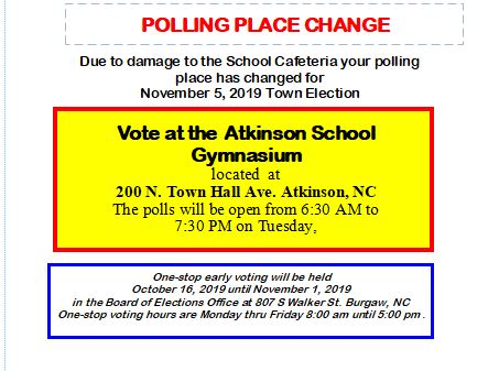 Caswell Precinct Polling Place Change Notification