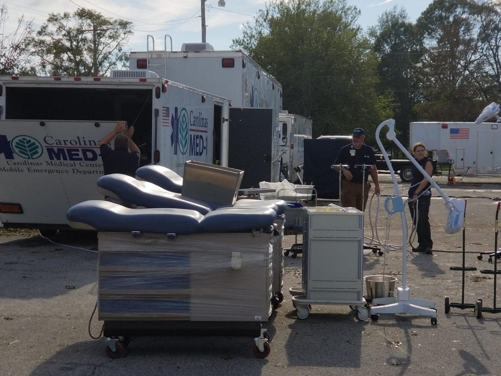 Mobile hospital with examination tables
