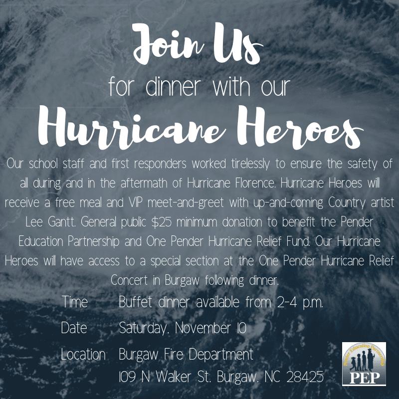 Hurricane Heroes Dinner Flyer