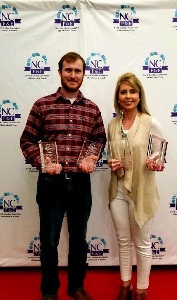 Pictured is Olivia Dawson, who won the Festival Director of the Year award from NCAFE, with David Crooks of the NC Bacon Fest and AirPlay Events