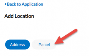 Image of a red arrow pointing to the Parcel link underneath the Add Location link in PORT